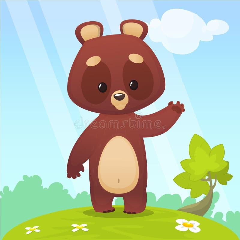 Ilustração fresca do vetor dos desenhos animados de uma mão de ondulação do urso Isolado no fundo colorido da floresta da florest ilustração stock