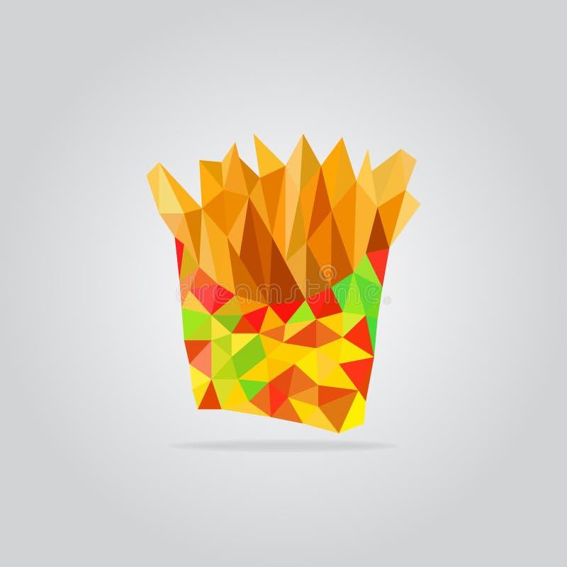 Ilustração fritada poligonal da batata ilustração do vetor