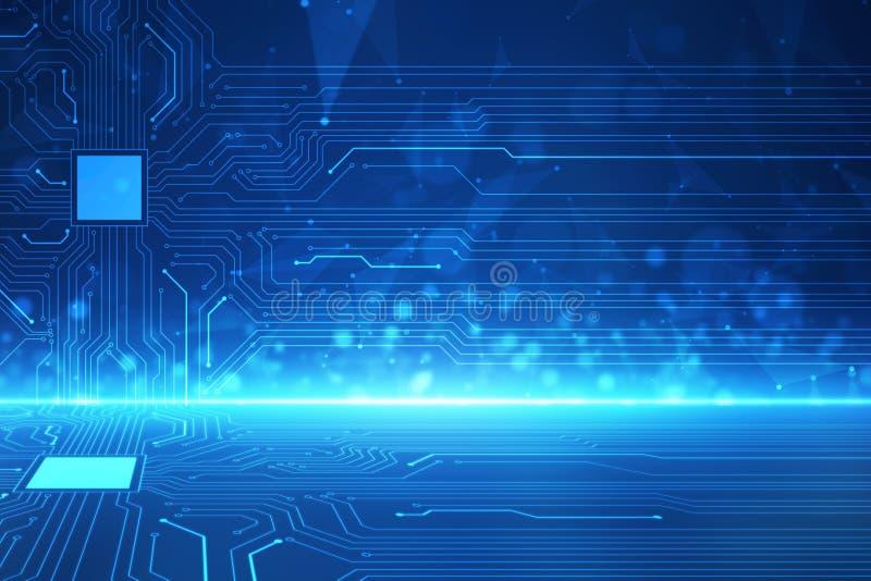 Ilustração futurista abstrata da placa de circuito, conceito da tecnologia digital da Olá!-tecnologia foto de stock royalty free