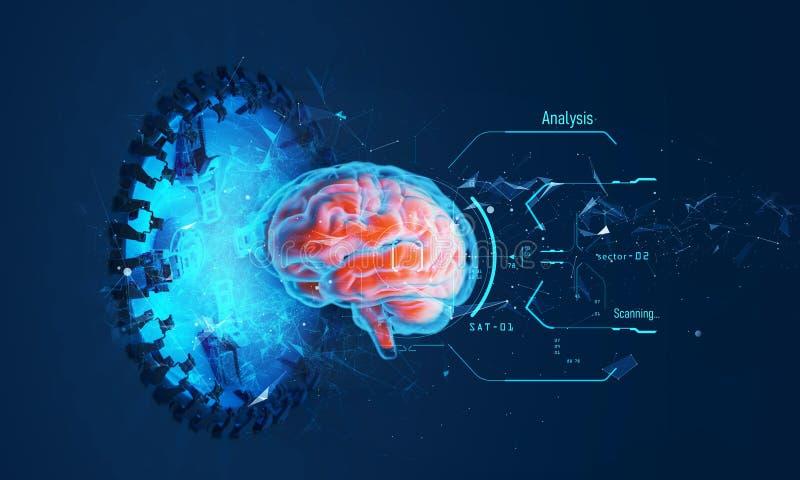 Ilustração futurista do holograma do cérebro fotos de stock royalty free