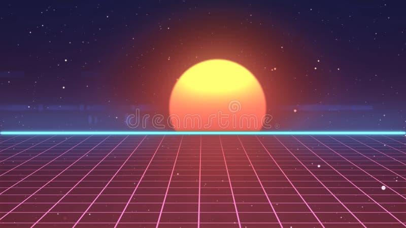 Ilustração futurista retro da paisagem 3d da introdução do jogo de vídeo da fita de 80s VHS ilustração stock