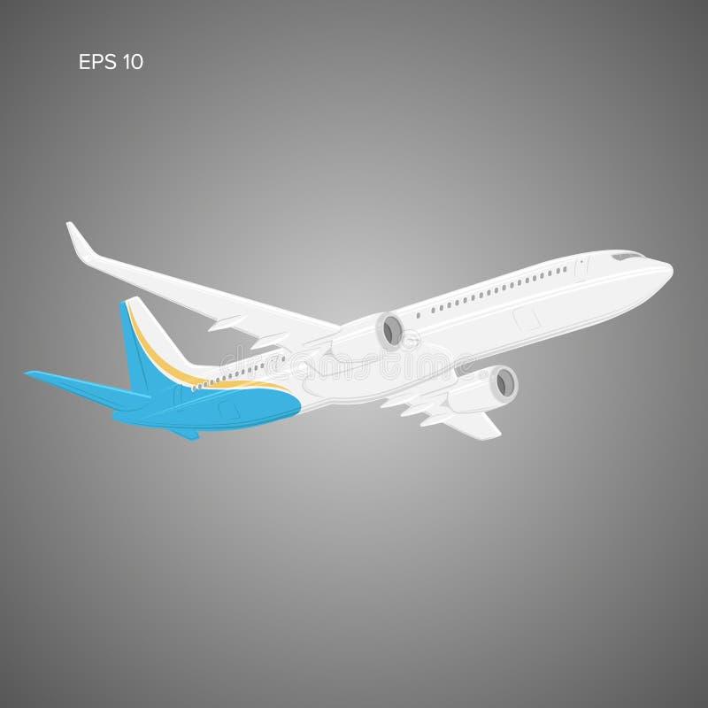 Ilustração gêmea moderna do vetor do avião de passageiros do jato do motor Grandes aviões de passageiro comerciais ilustração do vetor