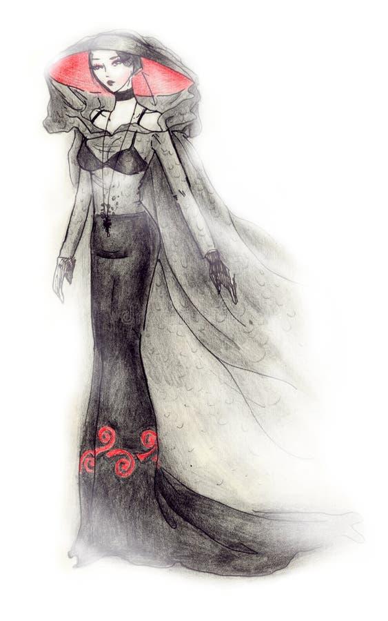 Ilustração gótico da forma da noiva ilustração royalty free