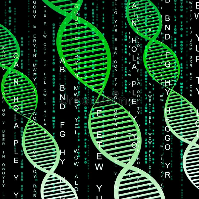 Ilustração genética do cromossoma 3d do significado da hélice do ADN ilustração stock