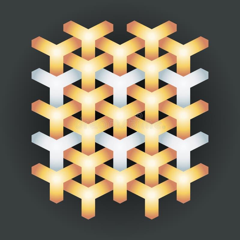 Ilustração geométrica abstrata étnica de prata do vetor do projeto da arte da textura 3d do teste padrão do fundo do ouro do meta ilustração royalty free