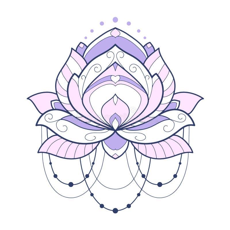 A ilustração geométrica cor-de-rosa do vetor da flor de lótus é isolada em um fundo branco Elemento decorativo simétrico com motr ilustração royalty free