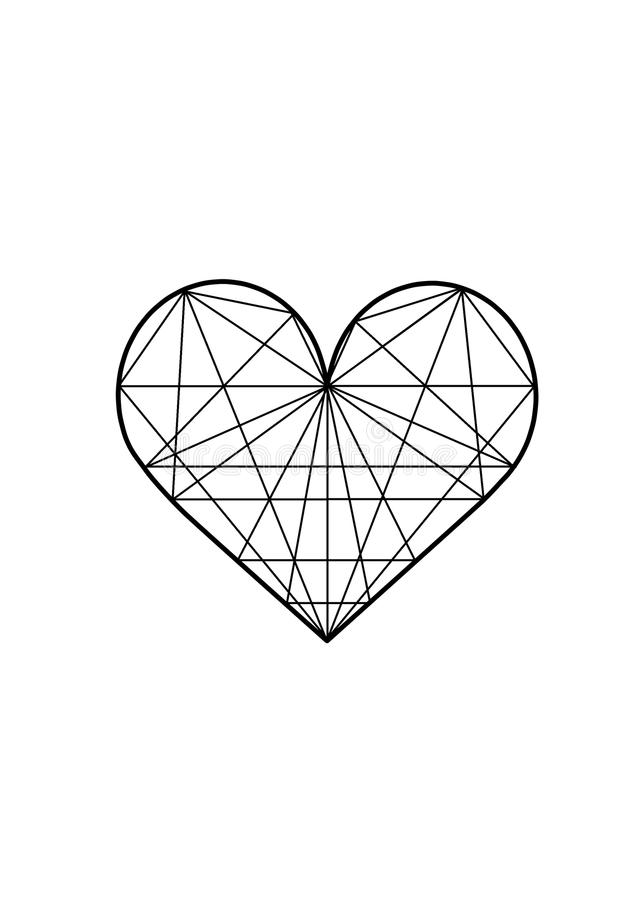 Ilustração geométrica do coração imagem de stock