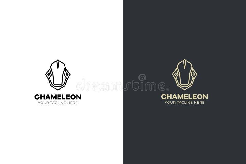 Ilustração geométrica estilizado da cabeça do camaleão Projeto tribal do lagarto do ícone do vetor ilustração royalty free