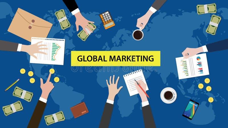 Ilustração global com documentos, papel moeda da discussão do conceito do mercado ilustração stock