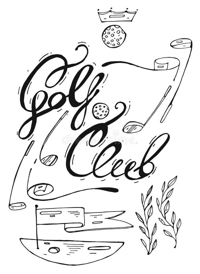 Ilustração gráfica alinhada tirada mão do logotipo do clube de golfe do fof dos elementos do projeto do golfe Campo de golfe com  ilustração do vetor