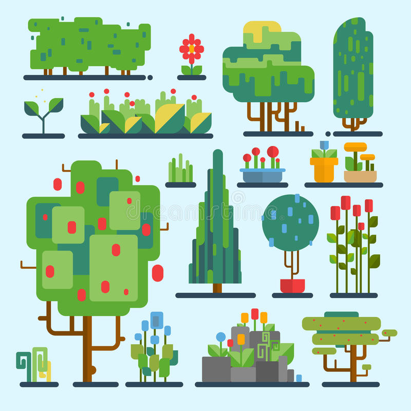 Ilustração gráfica de madeira do ambiente ajustado engraçado dos elementos da natureza do vetor da árvore da forma da fantasia do ilustração stock