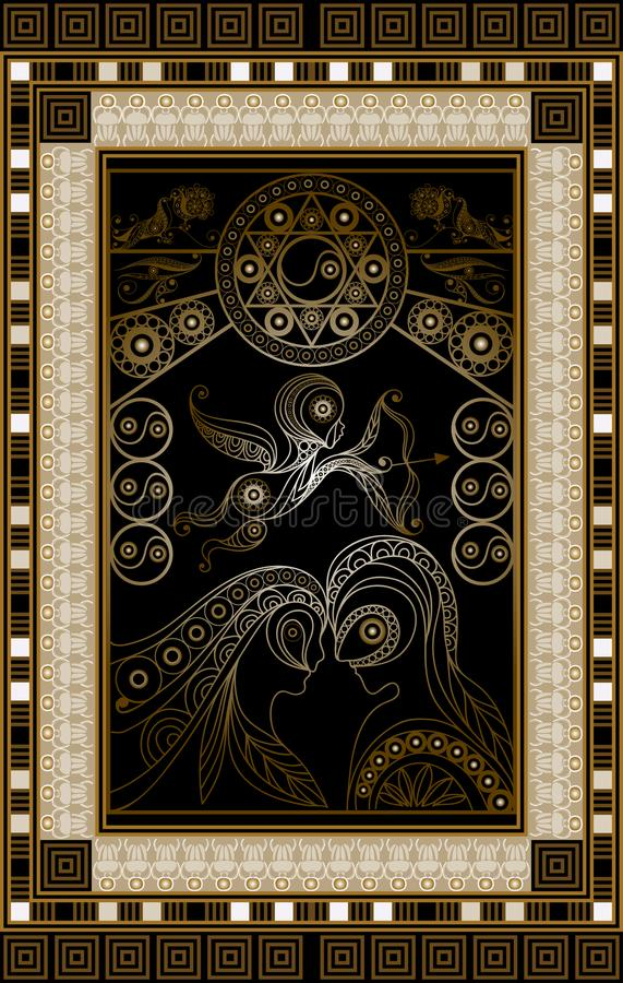 Ilustração gráfica de um cartão de tarô 2 ilustração royalty free