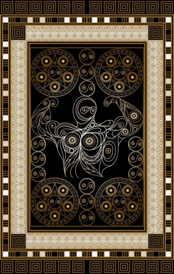 Ilustração gráfica de um cartão de tarô 12 ilustração stock