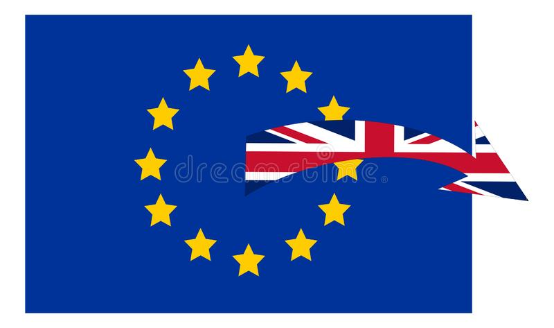 Ilustração gráfica do Reino Unido que sae da UE devido a Brexit imagens de stock