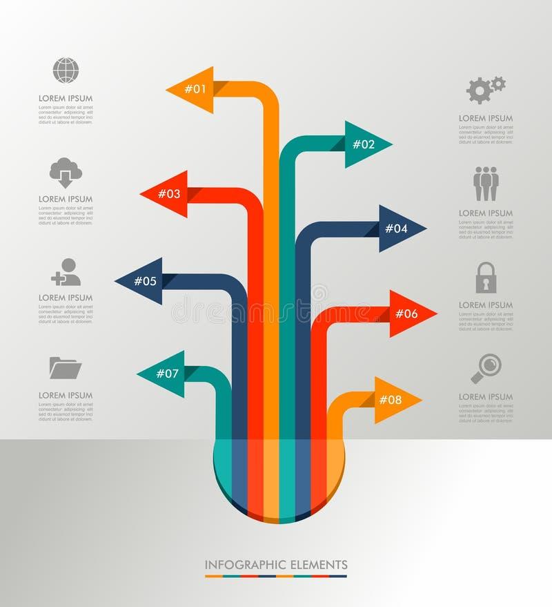 Ilustração gráfica dos elementos do molde de Infographic.