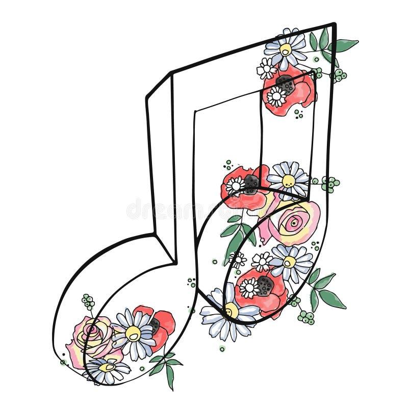 A ilustração gráfica tirada mão do vetor da nota musical com flores, folhas esboça o desenho, estilo da garatuja Linha abstrata a ilustração stock