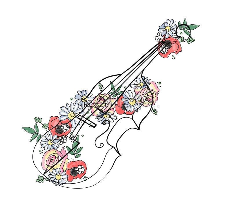 A ilustração gráfica tirada mão do vetor do violino com flores, folhas esboça o desenho, estilo da garatuja Linha arte abstrata a ilustração royalty free