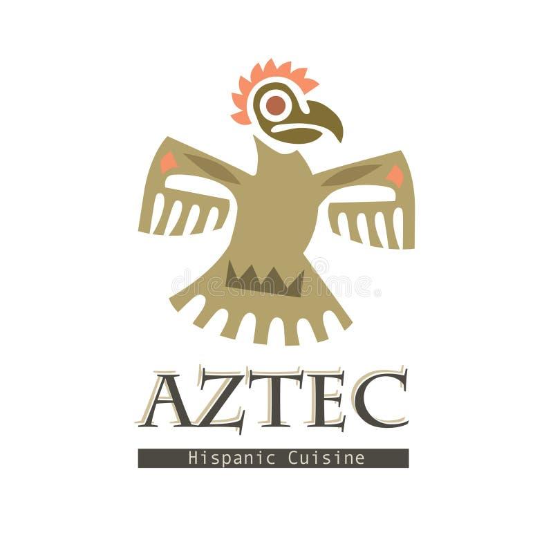 Ilustração gráfica tribal do vetor do ícone do pássaro dos astecas no branco ilustração royalty free