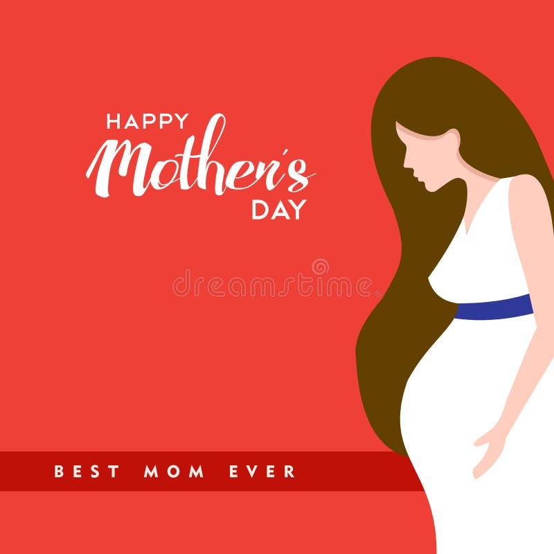 Ilustração grávida feliz das citações da mamã do dia de mães ilustração do vetor