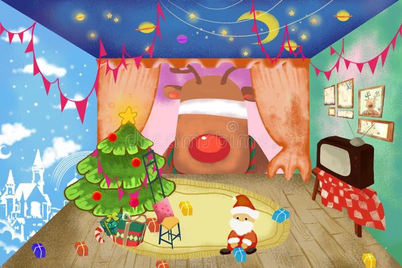 Ilustração/grampo Art Set: Santa Claus pequena quer dá a seus cervos um Natal feliz com surpresa! ilustração stock