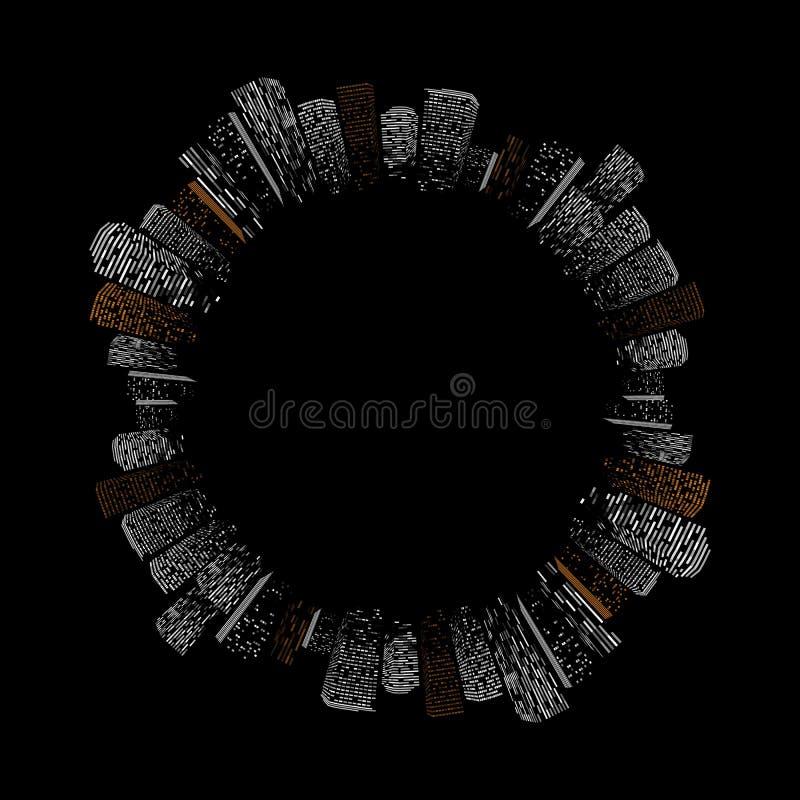 Ilustração grande abstrata isolada geométrica preta do vetor da cidade Silhueta moderna da construção da cidade da noite, quadro  ilustração stock
