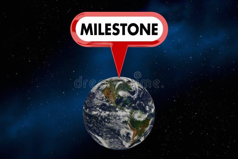 Ilustração grande da realização 3d da vitória do mundo da terra do planeta do marco miliário ilustração royalty free