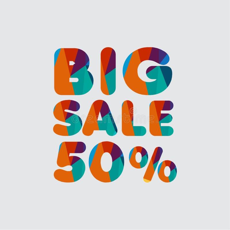 Ilustração grande do projeto do molde do vetor da venda 50% ilustração do vetor