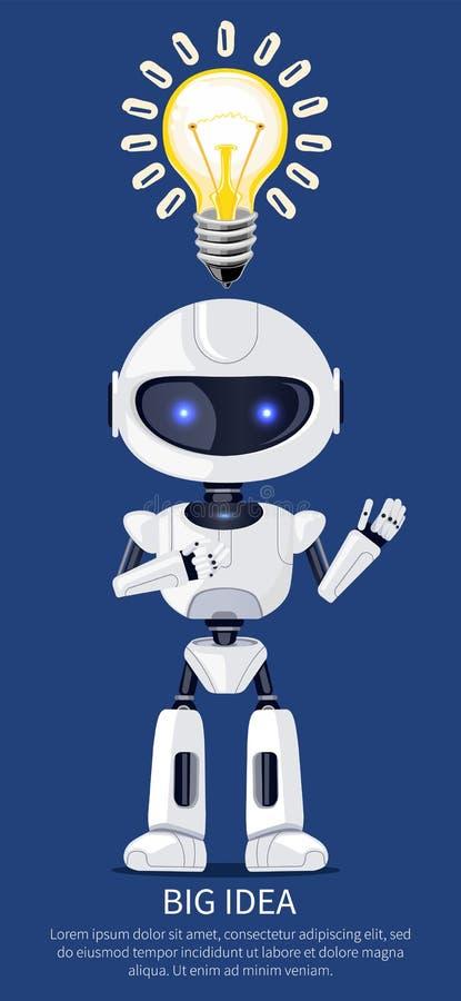 Ilustração grande do vetor do robô da ideia e do cartaz do bulbo ilustração stock