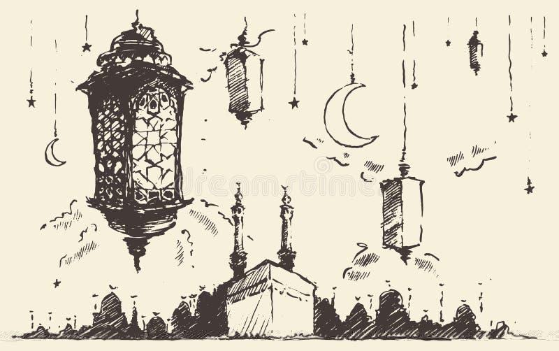 Ilustração gravada celebração da ramadã tirada ilustração royalty free