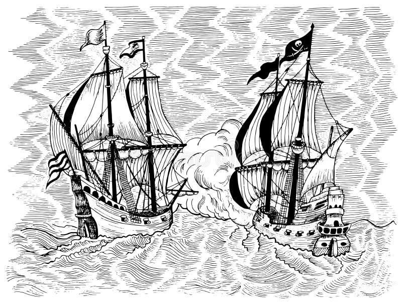 Ilustração gravada com batalha de mar do navio de pirata e da embarcação do comércio ilustração royalty free