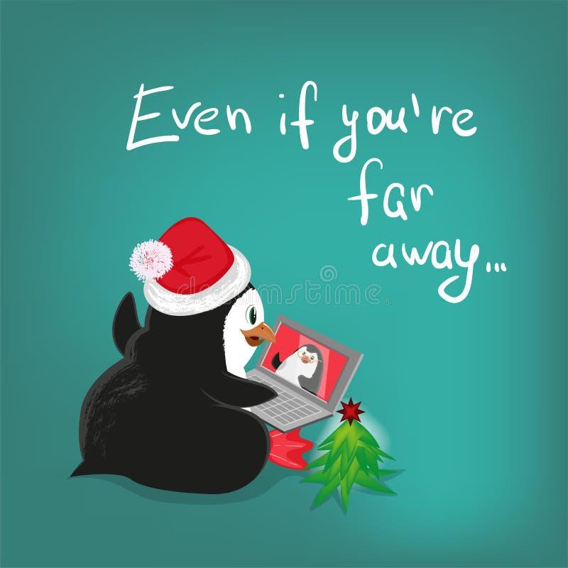 A ilustração greating dos desenhos animados do vetor do cartão de Natal de uma comunicação do portátil do pinguim, permanece em c ilustração royalty free