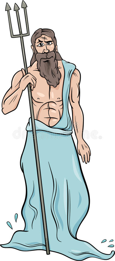 Ilustração grega dos desenhos animados do poseidon do deus ilustração royalty free
