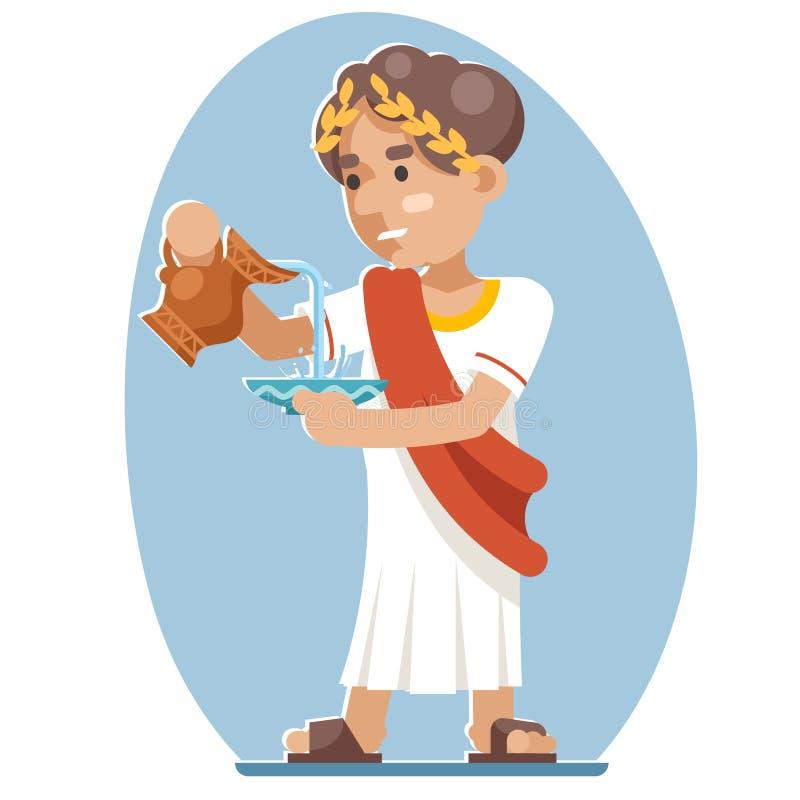 Ilustração grega romana de refrescamento do vetor do projeto da videira da água do ícone do caráter da bacia do jarro da bebida P ilustração stock