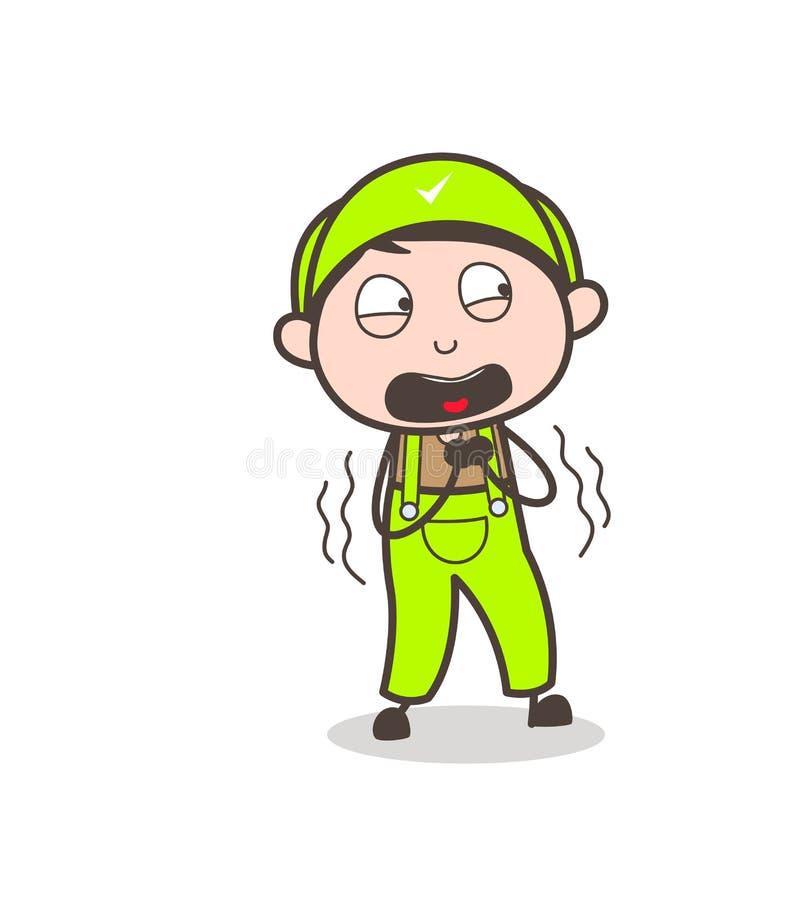 Ilustração gritando do vetor do menino temível dos desenhos animados ilustração royalty free