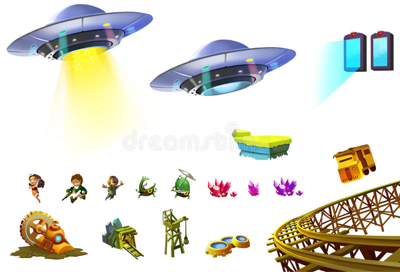 Ilustração: Grupo de elementos 5 da ficção científica UFO, herói pequeno, portal, mina, Gem Cluster etc. ilustração do vetor