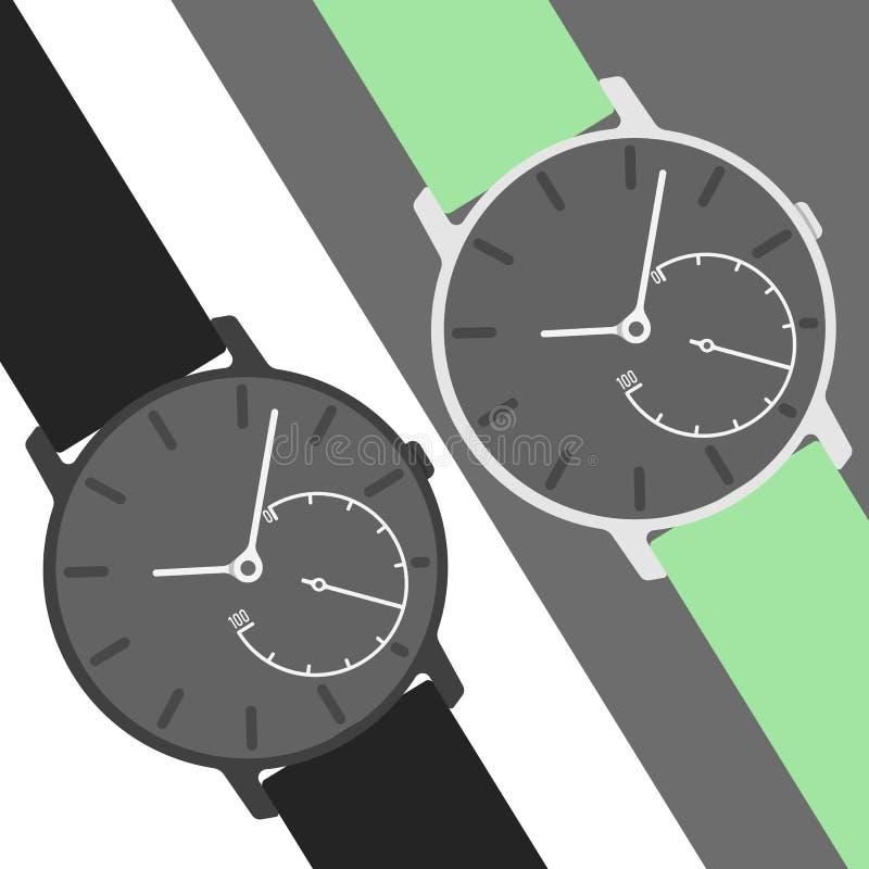 Ilustração híbrida dos smartwatches com cor diferente das correias ilustração do vetor