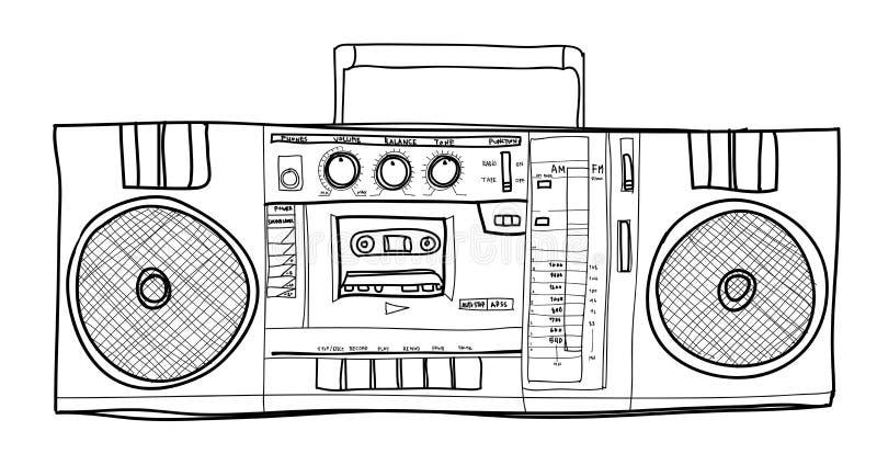 Ilustração handdrawn do lineart do vintage estereofônico do rádio de Boombox ilustração stock