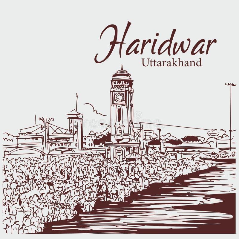 Ilustração haridwar do vetor do esboço do uttarakhand do pauri do ki de Har ilustração stock