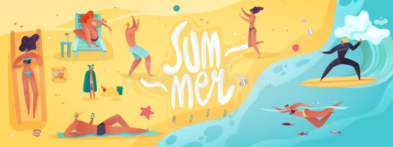 Ilustração horizontal das férias de verão ilustração royalty free