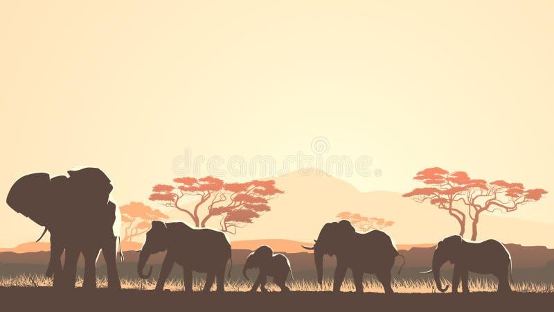 Ilustração horizontal de animais selvagens no savann africano do por do sol ilustração stock
