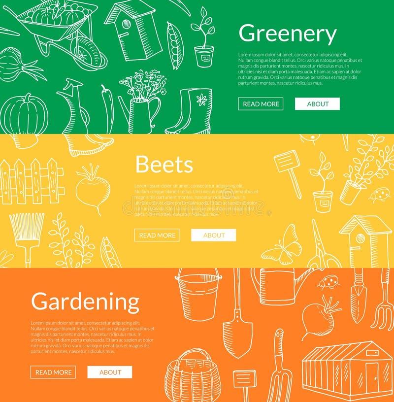 Ilustração horizontal de jardinagem das bandeiras da Web dos ícones da garatuja do vetor ilustração do vetor