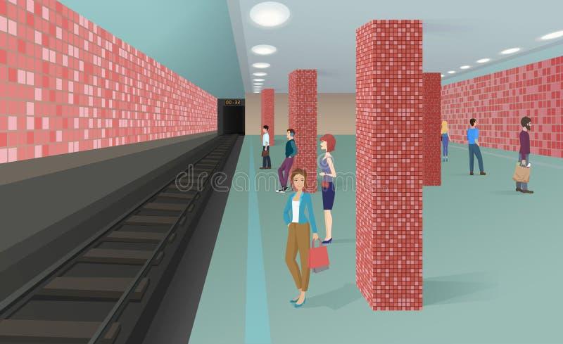 Ilustração horizontal do vetor dos povos que estão no metro e que esperam um trem ilustração stock