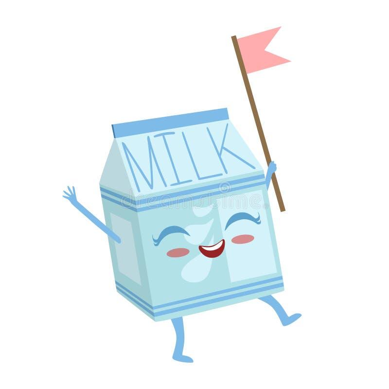 Ilustração humanizada do vetor de Emoji do caráter do alimento dos desenhos animados da caixa do leite Anime bonito ilustração royalty free