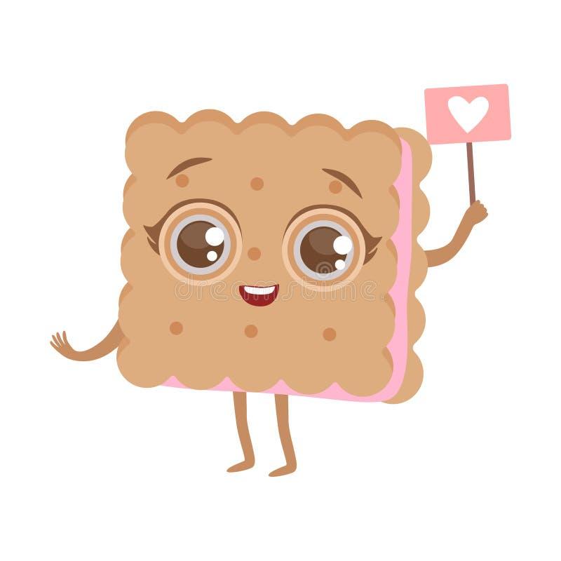 Ilustração humanizada do vetor de Emoji do caráter do alimento dos desenhos animados do sanduíche do biscoito Anime bonito ilustração stock