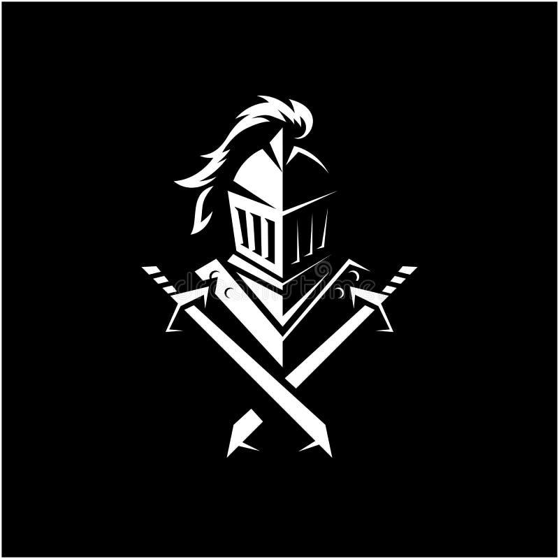 Ilustração impressionante do vetor do logotipo do cavaleiro foto de stock royalty free