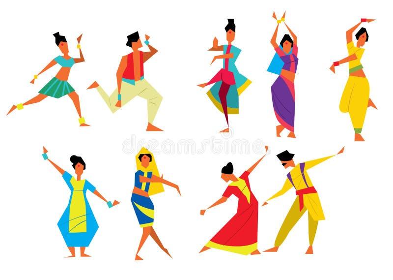Ilustração indiana do vetor dos dançarinos ilustração do vetor