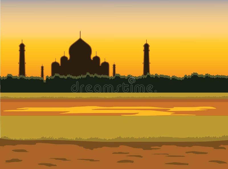Ilustração indiana do vetor do fundo do por do sol ilustração do vetor