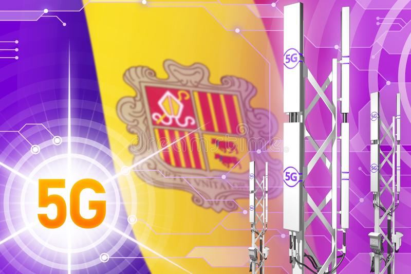 Ilustração industrial de Andorra 5G, mastro celular enorme da rede ou torre no fundo digital com a bandeira - ilustração 3D ilustração stock