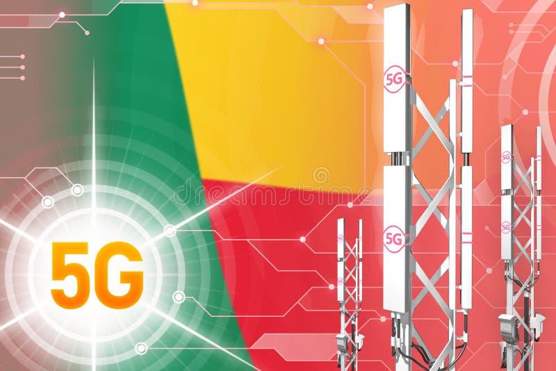 Ilustração industrial de Benin 5G, mastro celular enorme da rede ou torre no fundo digital com a bandeira - ilustração 3D ilustração stock