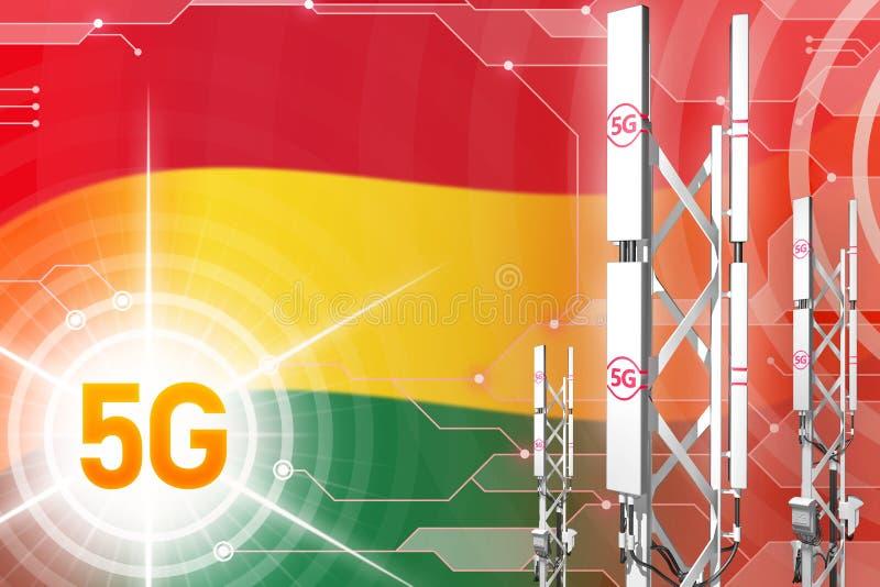 Ilustração industrial de Bolívia 5G, grande mastro celular da rede ou torre no fundo digital com a bandeira - ilustração 3D ilustração royalty free